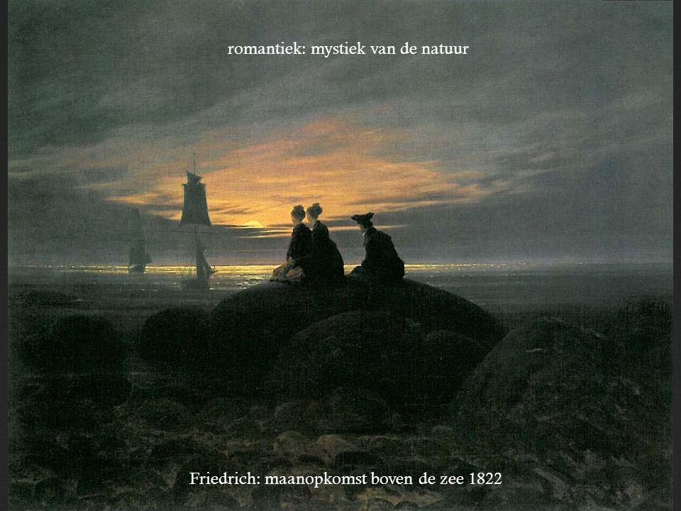 Friedrich: maanopkomst boven de zee 1822 romantiek: mystiek van de natuur