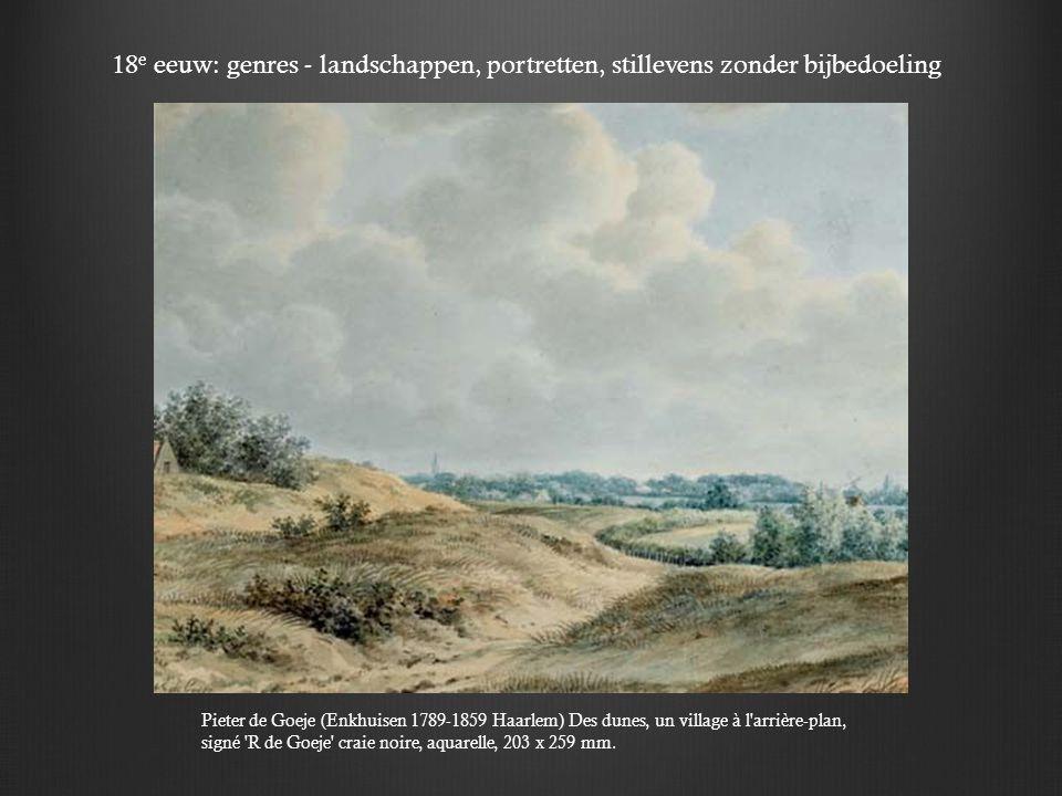 Pieter de Goeje (Enkhuisen 1789-1859 Haarlem) Des dunes, un village à l arrière-plan, signé R de Goeje craie noire, aquarelle, 203 x 259 mm.