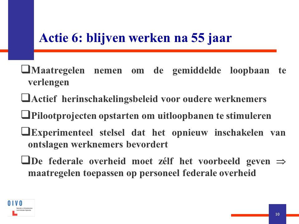 Actie 6: blijven werken na 55 jaar  Maatregelen nemen om de gemiddelde loopbaan te verlengen  Actief herinschakelingsbeleid voor oudere werknemers 