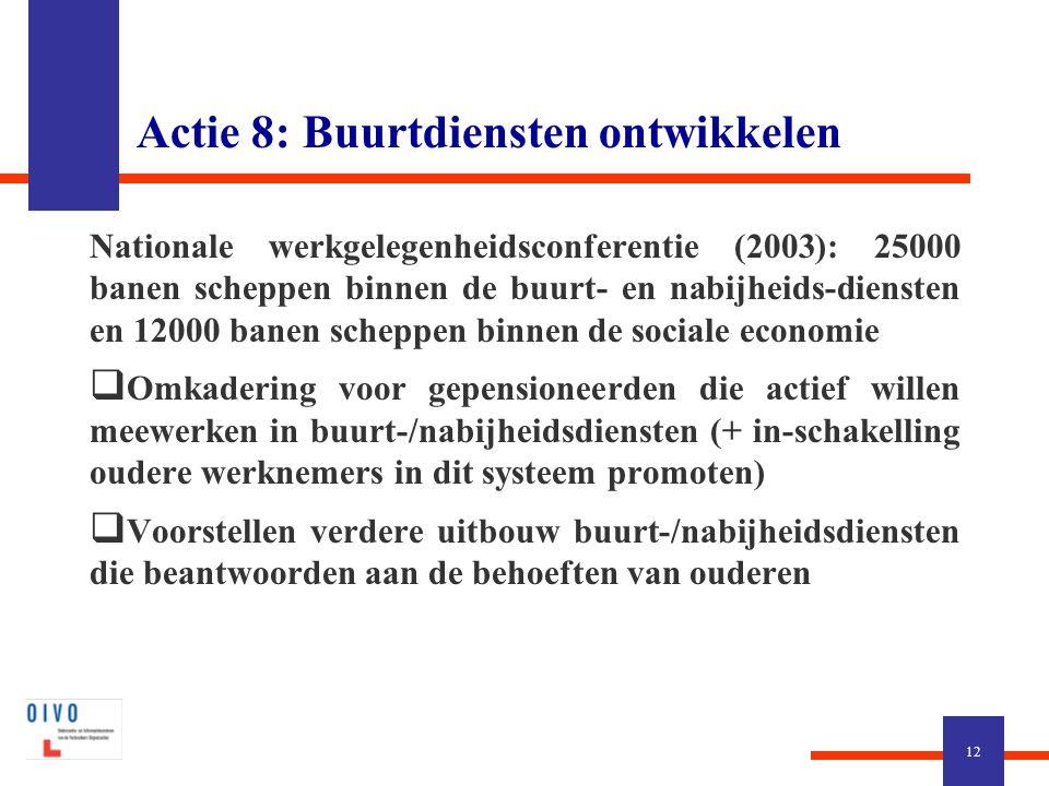 Actie 8: Buurtdiensten ontwikkelen Nationale werkgelegenheidsconferentie (2003): 25000 banen scheppen binnen de buurt- en nabijheids-diensten en 12000