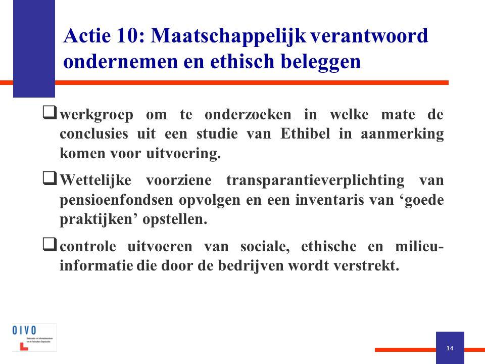 Actie 10: Maatschappelijk verantwoord ondernemen en ethisch beleggen  werkgroep om te onderzoeken in welke mate de conclusies uit een studie van Ethibel in aanmerking komen voor uitvoering.