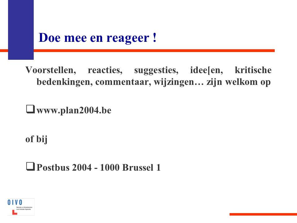 Doe mee en reageer ! Voorstellen, reacties, suggesties, idee[en, kritische bedenkingen, commentaar, wijzingen… zijn welkom op  www.plan2004.be of bij