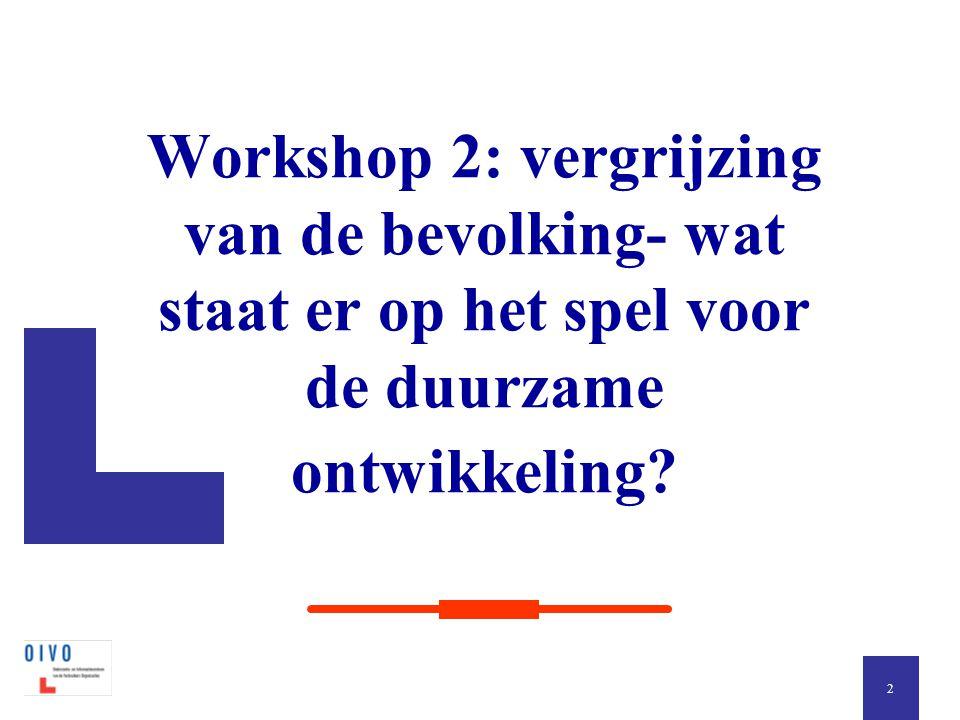 Workshop 2: vergrijzing van de bevolking- wat staat er op het spel voor de duurzame ontwikkeling? 2