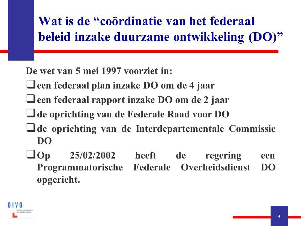 4 De wet van 5 mei 1997 voorziet in:  een federaal plan inzake DO om de 4 jaar  een federaal rapport inzake DO om de 2 jaar  de oprichting van de F