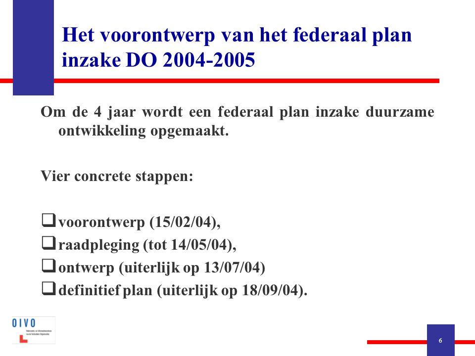6 Om de 4 jaar wordt een federaal plan inzake duurzame ontwikkeling opgemaakt. Vier concrete stappen:  voorontwerp (15/02/04),  raadpleging (tot 14/