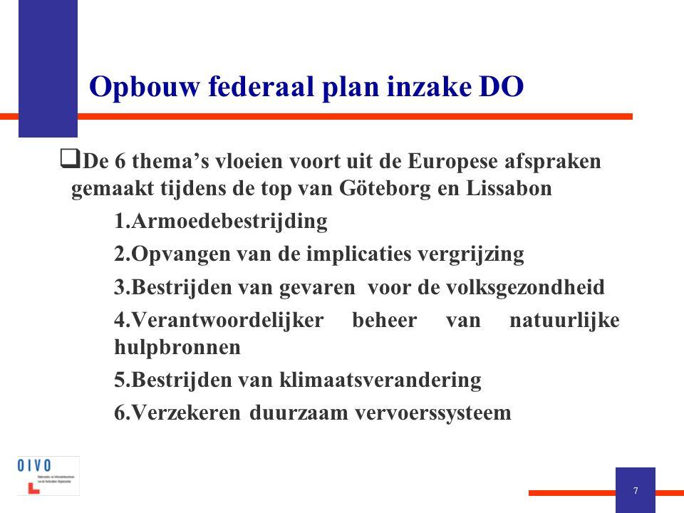 Opbouw federaal plan inzake DO  De 6 thema's vloeien voort uit de Europese afspraken gemaakt tijdens de top van Göteborg en Lissabon  1.Armoedebestrijding  2.Opvangen van de implicaties vergrijzing  3.Bestrijden van gevaren voor de volksgezondheid  4.Verantwoordelijker beheer van natuurlijke hulpbronnen  5.Bestrijden van klimaatsverandering  6.Verzekeren duurzaam vervoerssysteem 7