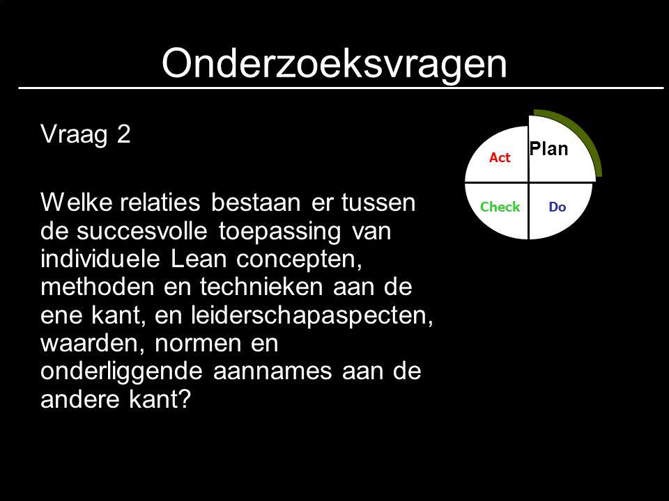 Onderzoeksvragen Vraag 3 Wat is het relatieve belang van de verschillende leiderschapaspecten, waarden, normen en onderliggende aannames voor het succes van Lean initiatieven.