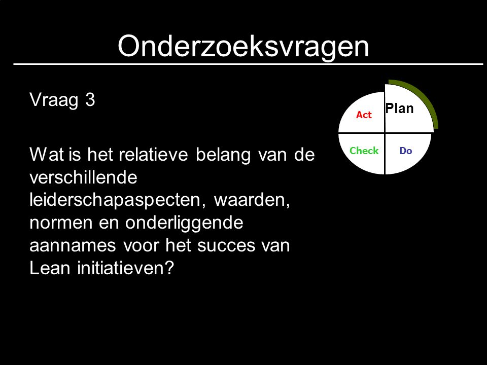 Onderzoeksvragen Vraag 3 Wat is het relatieve belang van de verschillende leiderschapaspecten, waarden, normen en onderliggende aannames voor het succ