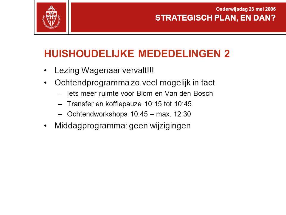 HUISHOUDELIJKE MEDEDELINGEN 2 Lezing Wagenaar vervalt!!.