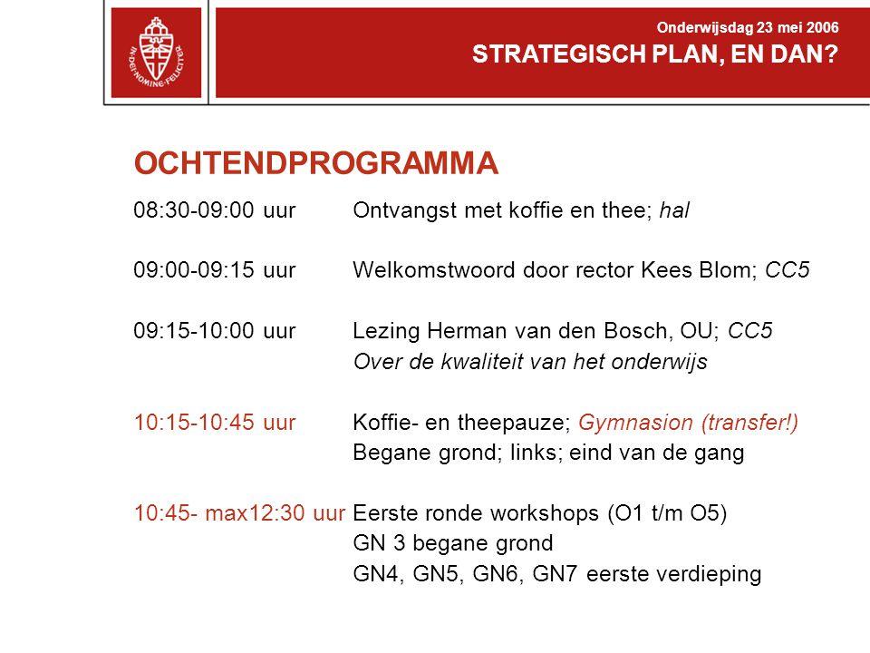 OCHTENDPROGRAMMA 08:30-09:00 uur 09:00-09:15 uur 09:15-10:00 uur 10:15-10:45 uur 10:45- max12:30 uur Ontvangst met koffie en thee; hal Welkomstwoord door rector Kees Blom; CC5 Lezing Herman van den Bosch, OU; CC5 Over de kwaliteit van het onderwijs Koffie- en theepauze; Gymnasion (transfer!) Begane grond; links; eind van de gang Eerste ronde workshops (O1 t/m O5) GN 3 begane grond GN4, GN5, GN6, GN7 eerste verdieping STRATEGISCH PLAN, EN DAN.