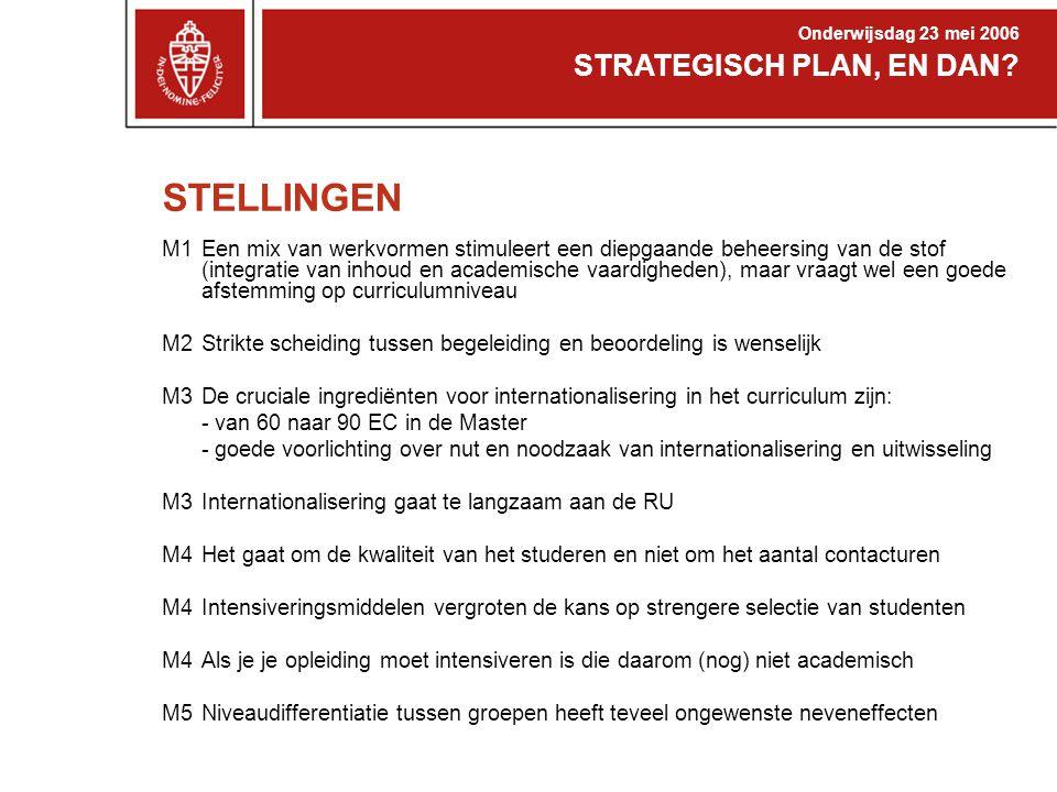 STELLINGEN M1Een mix van werkvormen stimuleert een diepgaande beheersing van de stof (integratie van inhoud en academische vaardigheden), maar vraagt wel een goede afstemming op curriculumniveau M2Strikte scheiding tussen begeleiding en beoordeling is wenselijk M3De cruciale ingrediënten voor internationalisering in het curriculum zijn: - van 60 naar 90 EC in de Master - goede voorlichting over nut en noodzaak van internationalisering en uitwisseling M3 Internationalisering gaat te langzaam aan de RU M4 Het gaat om de kwaliteit van het studeren en niet om het aantal contacturen M4Intensiveringsmiddelen vergroten de kans op strengere selectie van studenten M4Als je je opleiding moet intensiveren is die daarom (nog) niet academisch M5Niveaudifferentiatie tussen groepen heeft teveel ongewenste neveneffecten STRATEGISCH PLAN, EN DAN.
