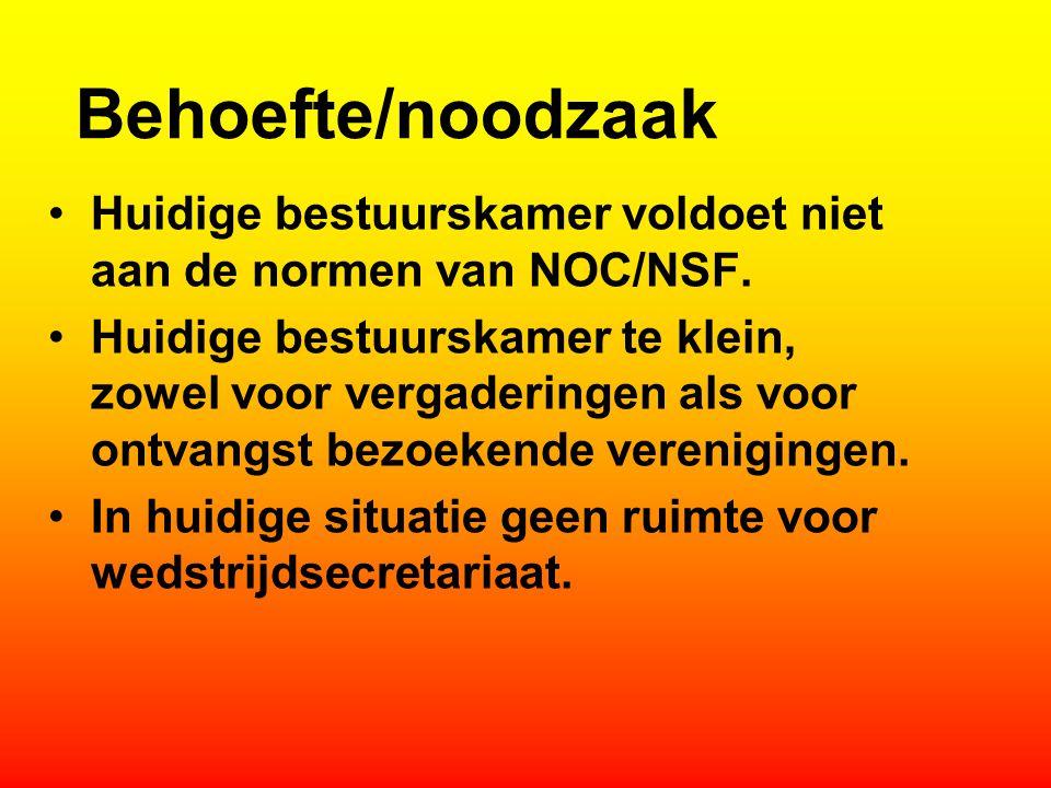 Behoefte/noodzaak Huidige bestuurskamer voldoet niet aan de normen van NOC/NSF. Huidige bestuurskamer te klein, zowel voor vergaderingen als voor ontv