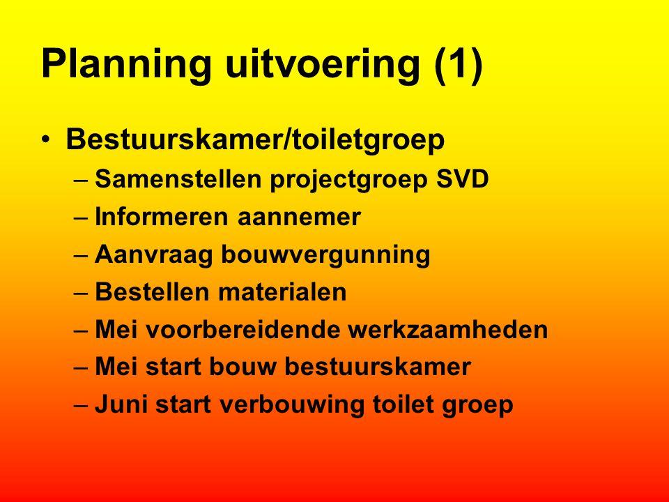 Planning uitvoering (1) Bestuurskamer/toiletgroep –Samenstellen projectgroep SVD –Informeren aannemer –Aanvraag bouwvergunning –Bestellen materialen –