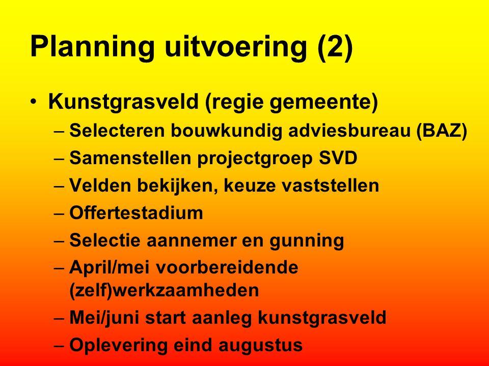 Planning uitvoering (2) Kunstgrasveld (regie gemeente) –Selecteren bouwkundig adviesbureau (BAZ) –Samenstellen projectgroep SVD –Velden bekijken, keuz