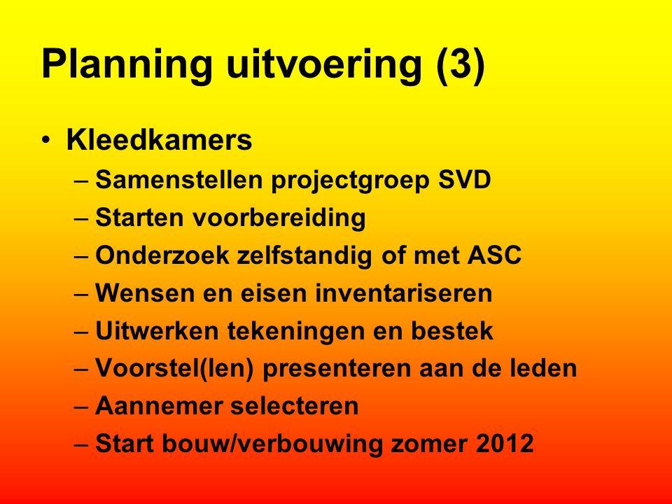 Planning uitvoering (3) Kleedkamers –Samenstellen projectgroep SVD –Starten voorbereiding –Onderzoek zelfstandig of met ASC –Wensen en eisen inventari