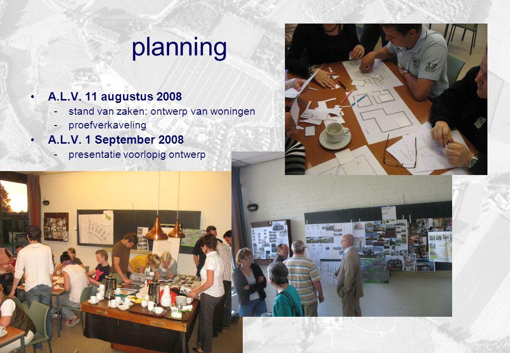 planning A.L.V. 11 augustus 2008 -stand van zaken: ontwerp van woningen -proefverkaveling A.L.V. 1 September 2008 -presentatie voorlopig ontwerp