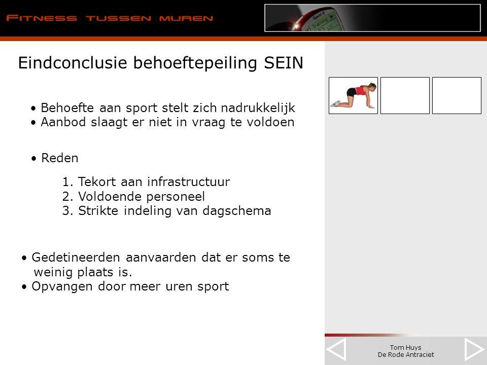 Tom Huys De Rode Antraciet Eindconclusie behoeftepeiling SEIN Behoefte aan sport stelt zich nadrukkelijk Aanbod slaagt er niet in vraag te voldoen Reden 1.
