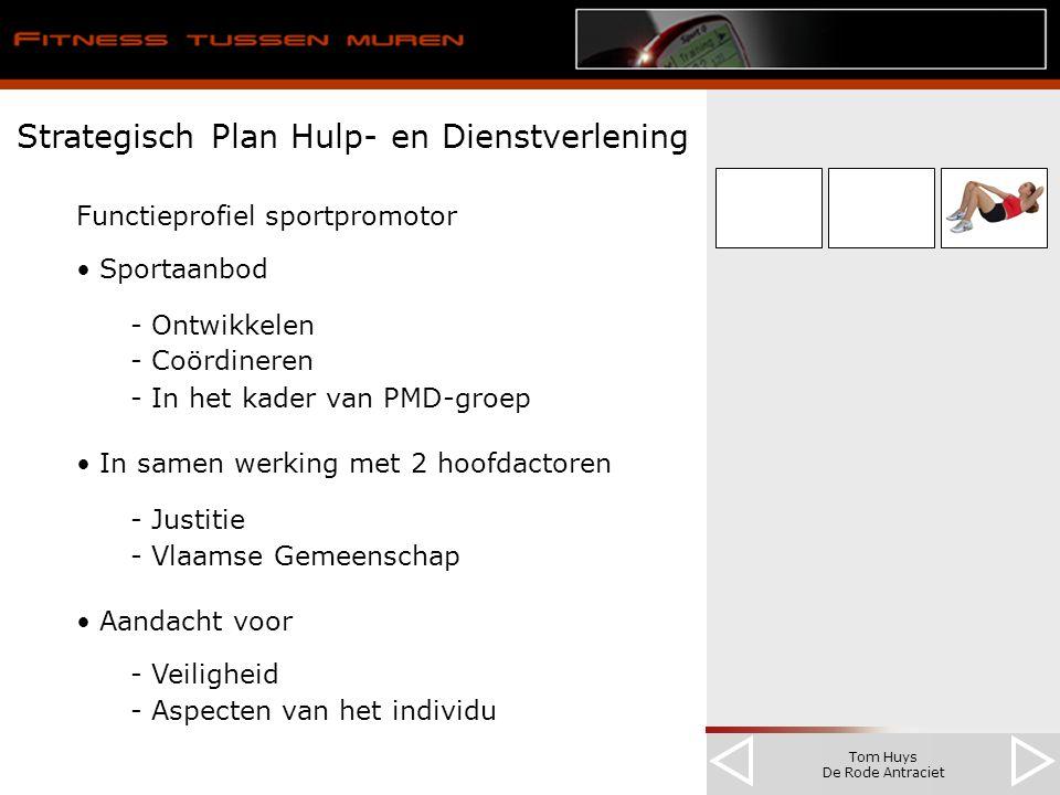 Tom Huys De Rode Antraciet Strategisch Plan Hulp- en Dienstverlening Functieprofiel sportpromotor Sportaanbod - Ontwikkelen - Coördineren - In het kader van PMD-groep In samen werking met 2 hoofdactoren - Justitie - Vlaamse Gemeenschap Aandacht voor - Veiligheid - Aspecten van het individu