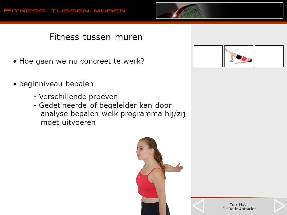 Tom Huys De Rode Antraciet Fitness tussen muren Hoe gaan we nu concreet te werk? beginniveau bepalen - Verschillende proeven - Gedetineerde of begelei