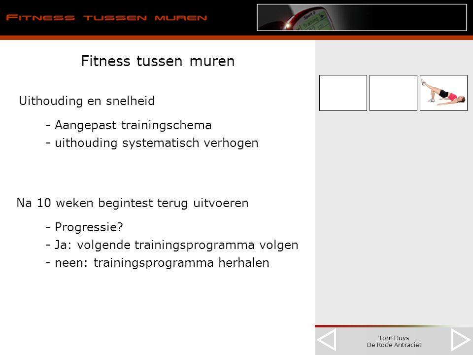 Tom Huys De Rode Antraciet Fitness tussen muren Uithouding en snelheid - Aangepast trainingschema - uithouding systematisch verhogen Na 10 weken begintest terug uitvoeren - Progressie.