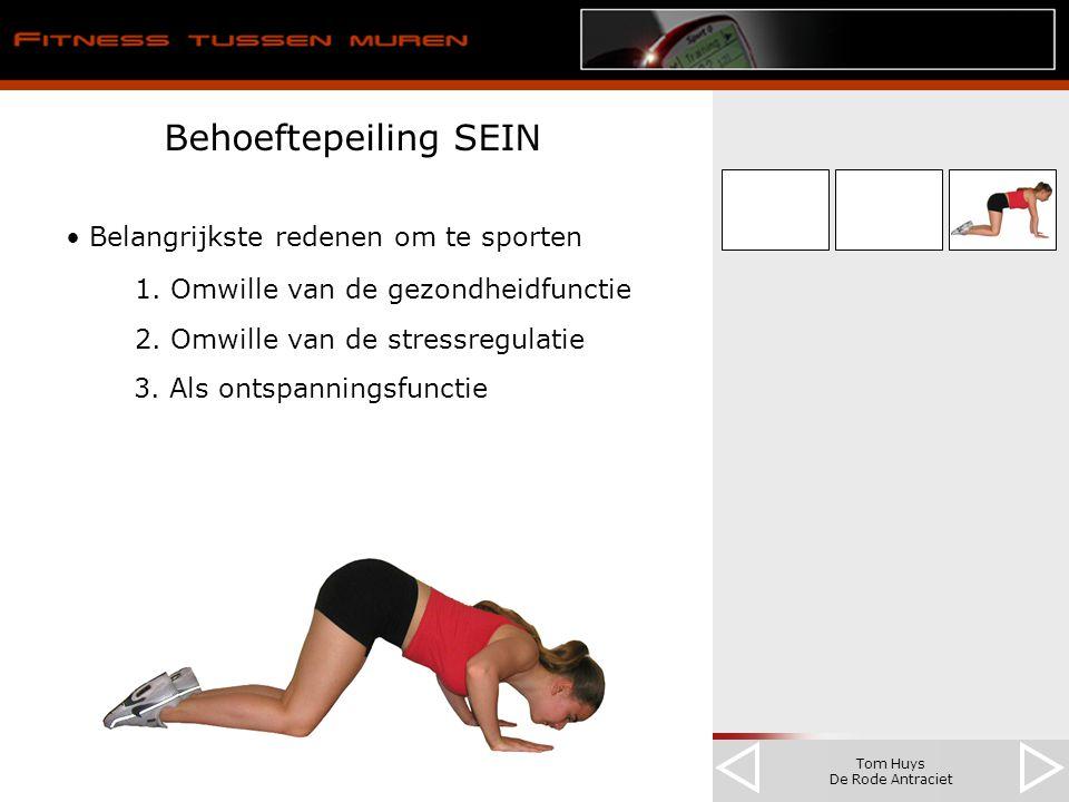 Tom Huys De Rode Antraciet Behoeftepeiling SEIN Belangrijkste redenen om te sporten 1. Omwille van de gezondheidfunctie 2. Omwille van de stressregula