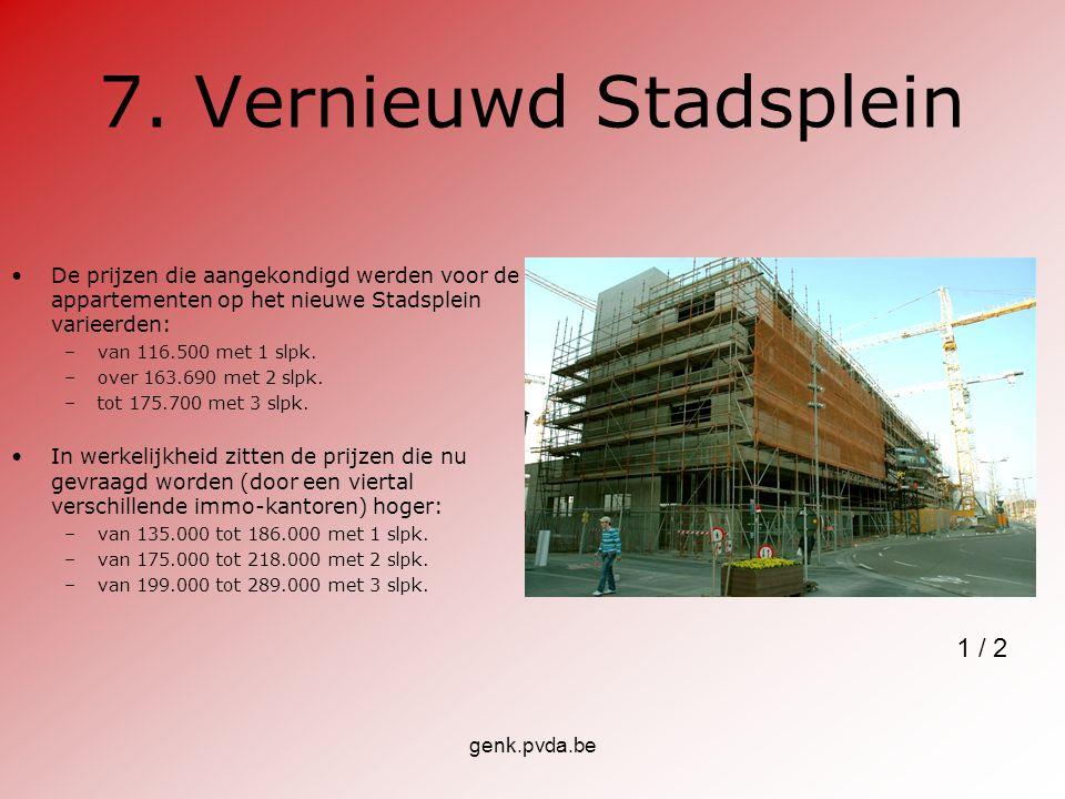 genk.pvda.be 7. Vernieuwd Stadsplein De prijzen die aangekondigd werden voor de appartementen op het nieuwe Stadsplein varieerden: –van 116.500 met 1
