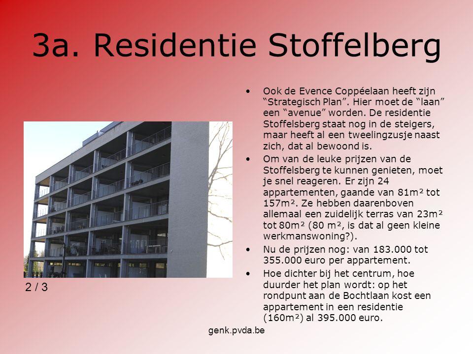 """genk.pvda.be 3a. Residentie Stoffelberg Ook de Evence Coppéelaan heeft zijn """"Strategisch Plan"""". Hier moet de """"laan"""" een """"avenue"""" worden. De residentie"""