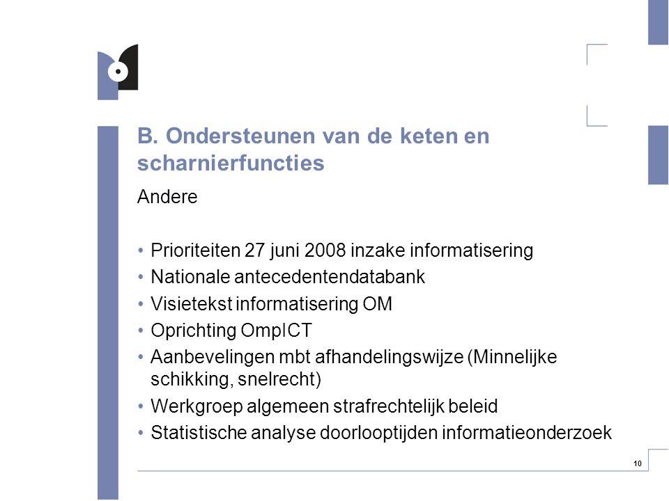 10 B. Ondersteunen van de keten en scharnierfuncties Andere Prioriteiten 27 juni 2008 inzake informatisering Nationale antecedentendatabank Visietekst