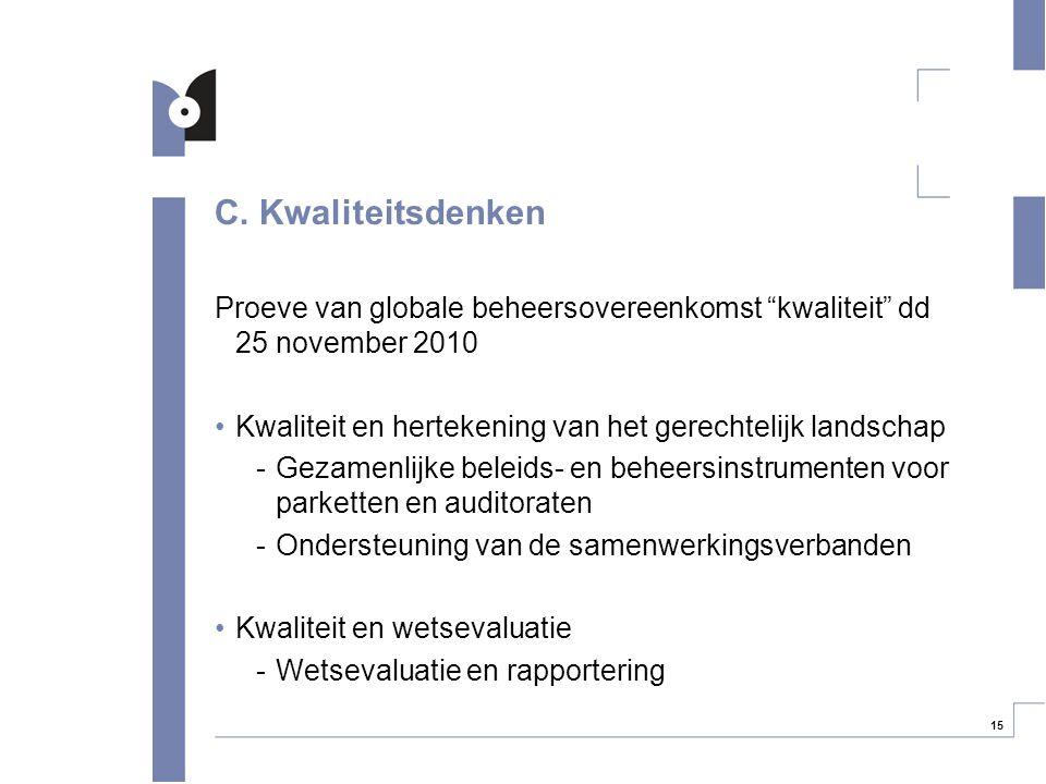 """15 C. Kwaliteitsdenken Proeve van globale beheersovereenkomst """"kwaliteit"""" dd 25 november 2010 Kwaliteit en hertekening van het gerechtelijk landschap"""