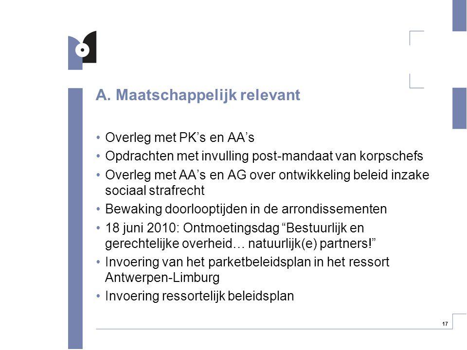 17 A. Maatschappelijk relevant Overleg met PK's en AA's Opdrachten met invulling post-mandaat van korpschefs Overleg met AA's en AG over ontwikkeling