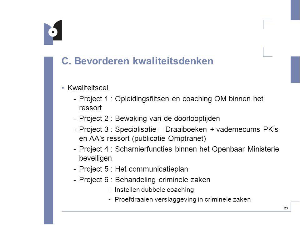 23 C. Bevorderen kwaliteitsdenken Kwaliteitscel -Project 1 : Opleidingsflitsen en coaching OM binnen het ressort -Project 2 : Bewaking van de doorloop