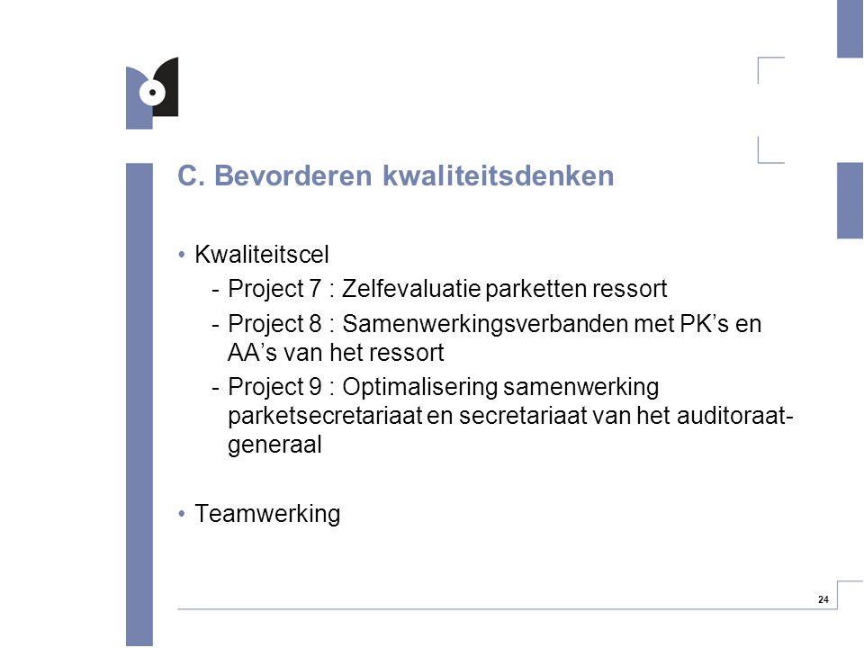 24 C. Bevorderen kwaliteitsdenken Kwaliteitscel -Project 7 : Zelfevaluatie parketten ressort -Project 8 : Samenwerkingsverbanden met PK's en AA's van