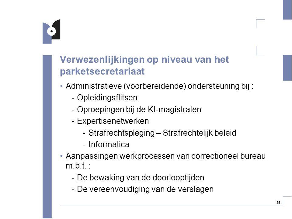 25 Verwezenlijkingen op niveau van het parketsecretariaat Administratieve (voorbereidende) ondersteuning bij : -Opleidingsflitsen -Oproepingen bij de
