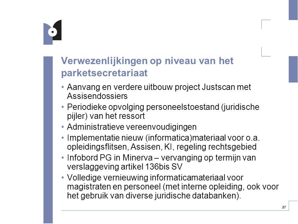 27 Verwezenlijkingen op niveau van het parketsecretariaat Aanvang en verdere uitbouw project Justscan met Assisendossiers Periodieke opvolging persone