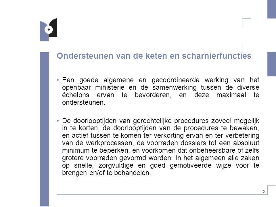 3 Ondersteunen van de keten en scharnierfuncties Een goede algemene en gecoördineerde werking van het openbaar ministerie en de samenwerking tussen de
