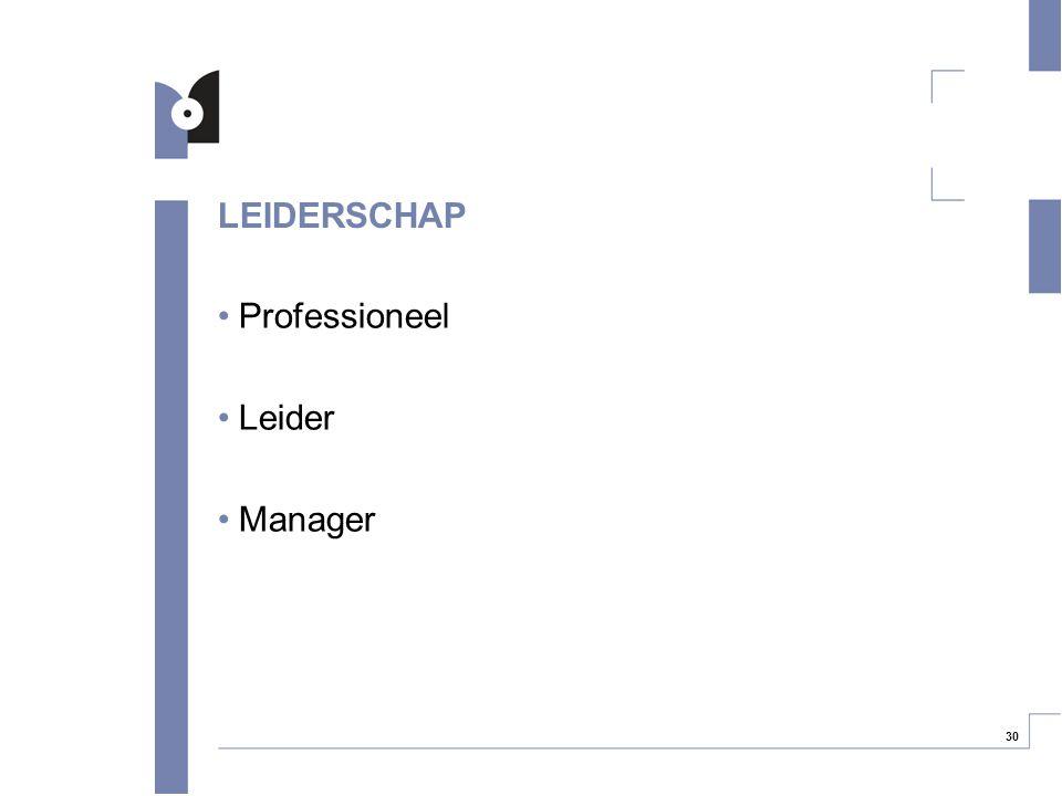 30 LEIDERSCHAP Professioneel Leider Manager