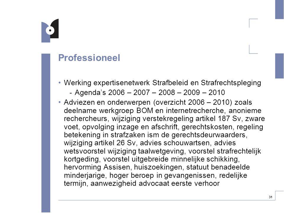 31 Professioneel Werking expertisenetwerk Strafbeleid en Strafrechtspleging -Agenda's 2006 – 2007 – 2008 – 2009 – 2010 Adviezen en onderwerpen (overzi