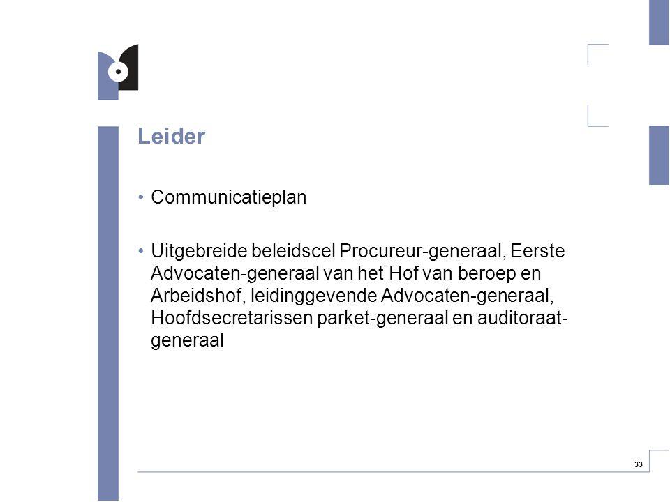 33 Leider Communicatieplan Uitgebreide beleidscel Procureur-generaal, Eerste Advocaten-generaal van het Hof van beroep en Arbeidshof, leidinggevende A