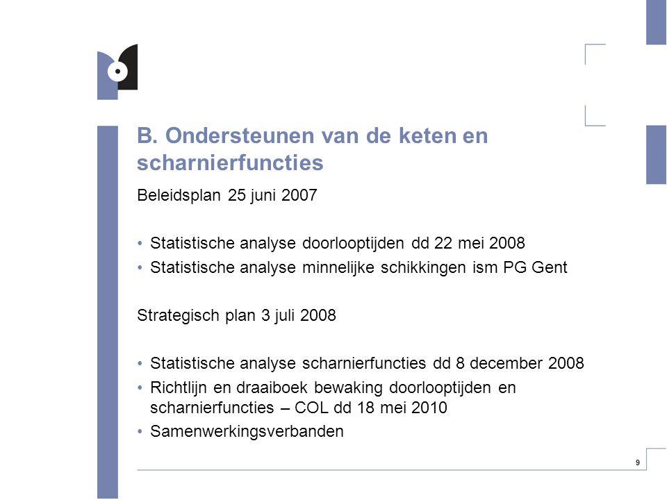 9 B. Ondersteunen van de keten en scharnierfuncties Beleidsplan 25 juni 2007 Statistische analyse doorlooptijden dd 22 mei 2008 Statistische analyse m