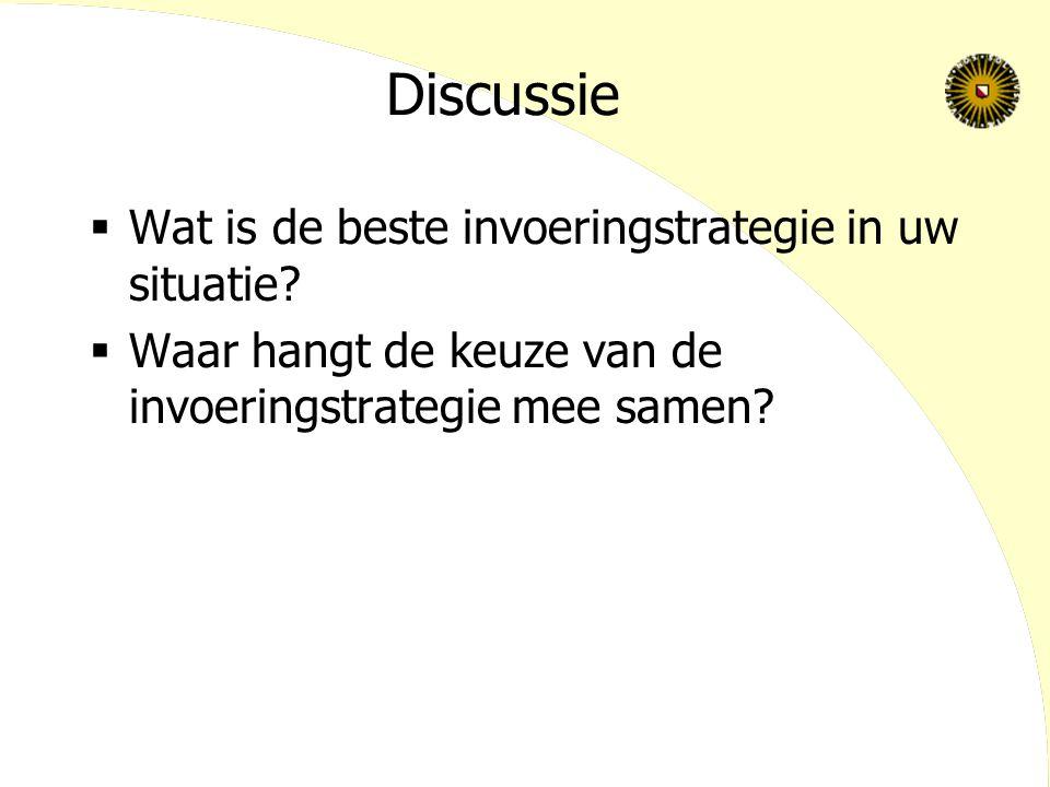Discussie  Wat is de beste invoeringstrategie in uw situatie.