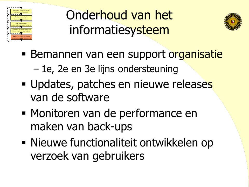 Onderhoud van het informatiesysteem  Bemannen van een support organisatie –1e, 2e en 3e lijns ondersteuning  Updates, patches en nieuwe releases van de software  Monitoren van de performance en maken van back-ups  Nieuwe functionaliteit ontwikkelen op verzoek van gebruikers