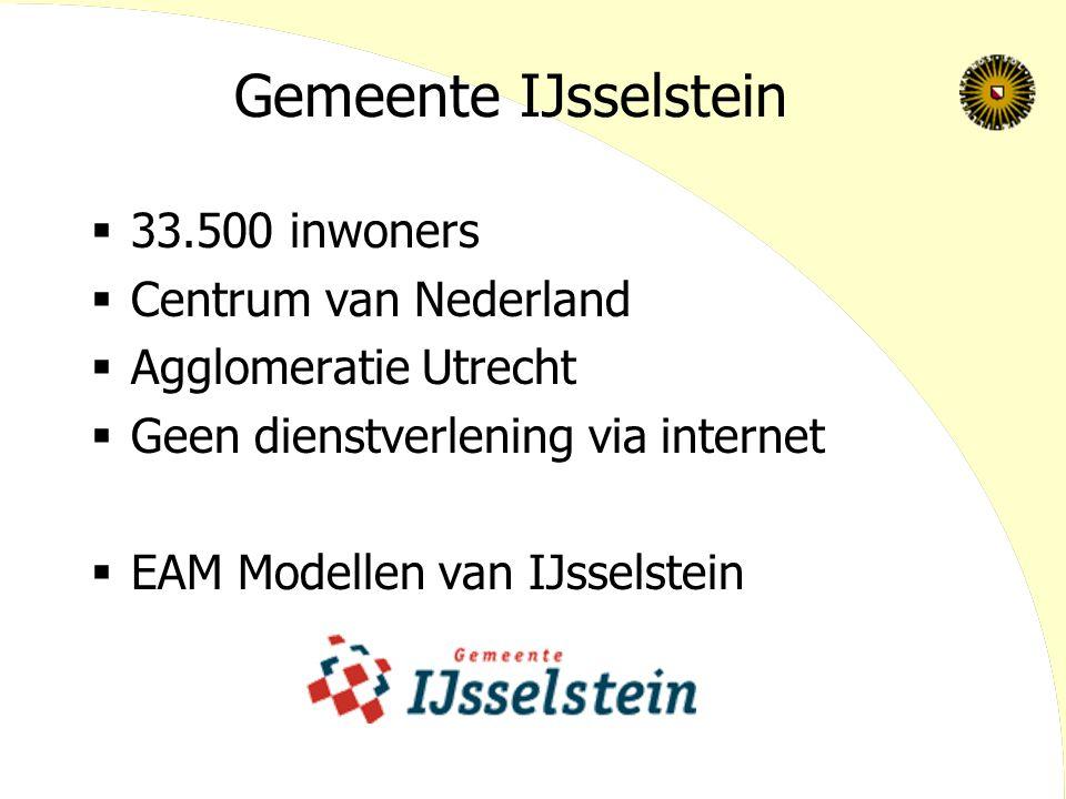 Gemeente IJsselstein  33.500 inwoners  Centrum van Nederland  Agglomeratie Utrecht  Geen dienstverlening via internet  EAM Modellen van IJsselstein
