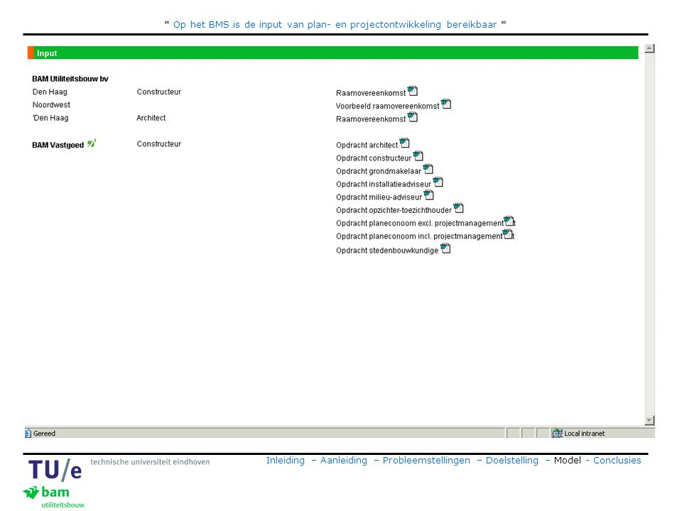 * Op het BMS is de input van plan- en projectontwikkeling bereikbaar * Inleiding – Aanleiding – Probleemstellingen – Doelstelling – Model - Conclusies