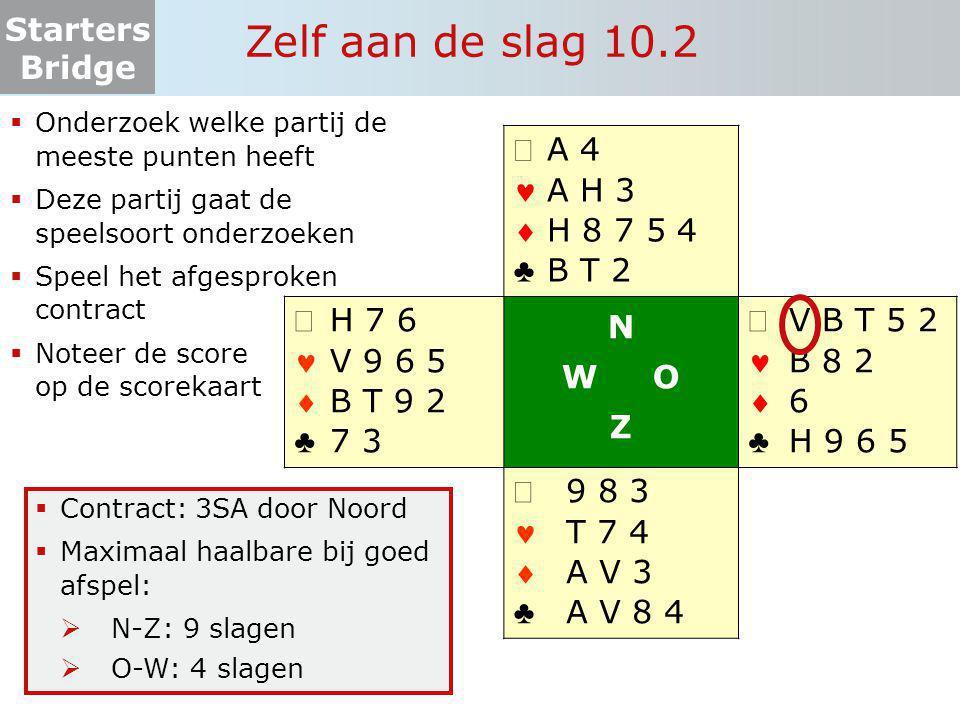 Starters Bridge Zelf aan de slag 10.2  Onderzoek welke partij de meeste punten heeft  Deze partij gaat de speelsoort onderzoeken  Speel het afgespr