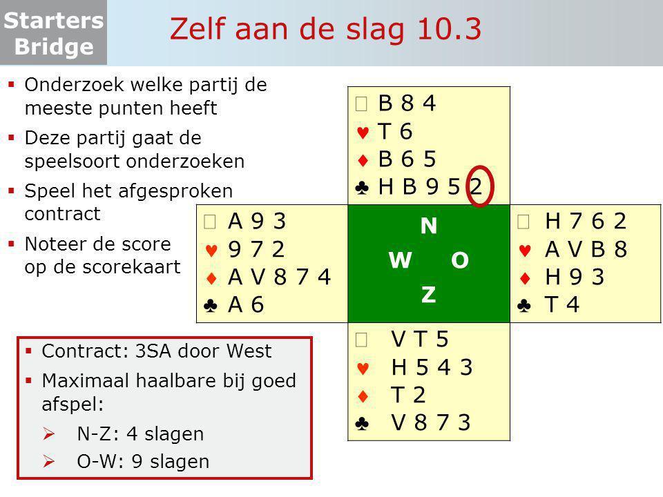 Starters Bridge Zelf aan de slag 10.3  Onderzoek welke partij de meeste punten heeft  Deze partij gaat de speelsoort onderzoeken  Speel het afgespr