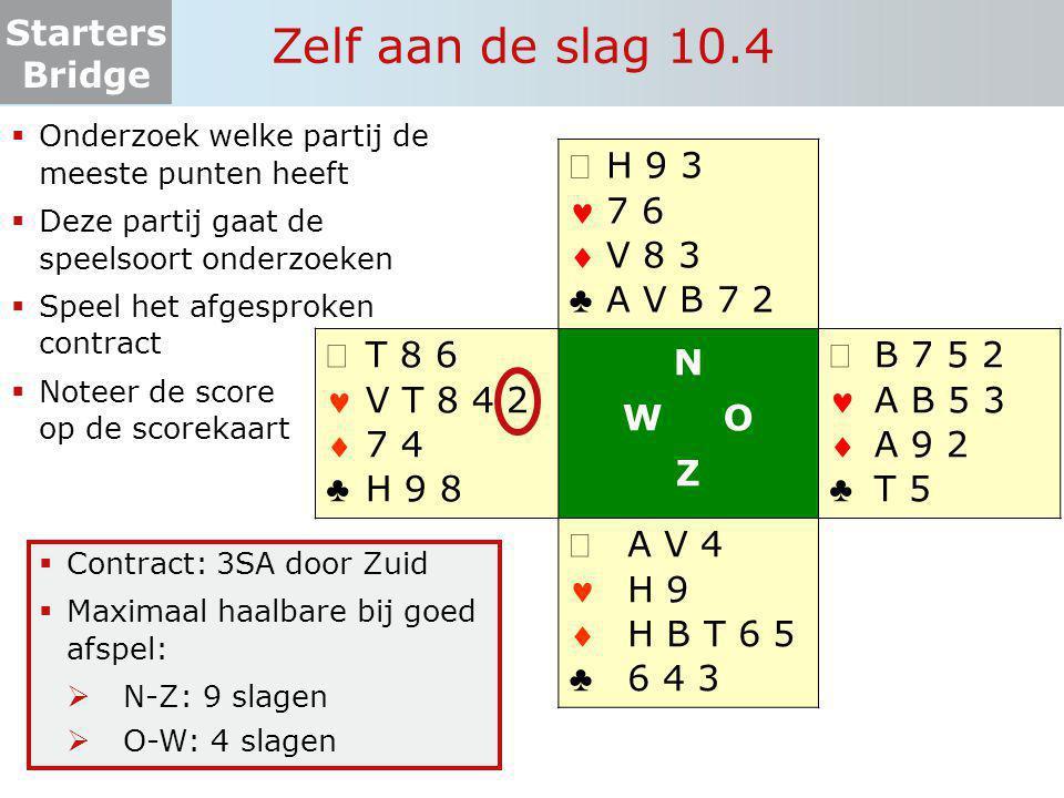 Starters Bridge Zelf aan de slag 10.4  Onderzoek welke partij de meeste punten heeft  Deze partij gaat de speelsoort onderzoeken  Speel het afgespr