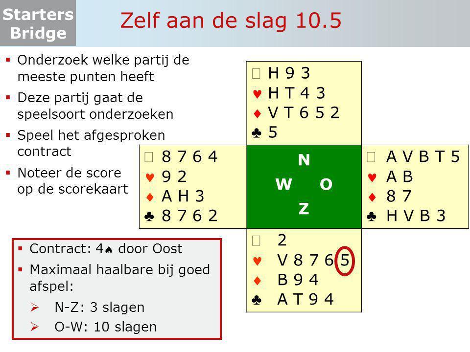 Starters Bridge Zelf aan de slag 10.5  Onderzoek welke partij de meeste punten heeft  Deze partij gaat de speelsoort onderzoeken  Speel het afgespr