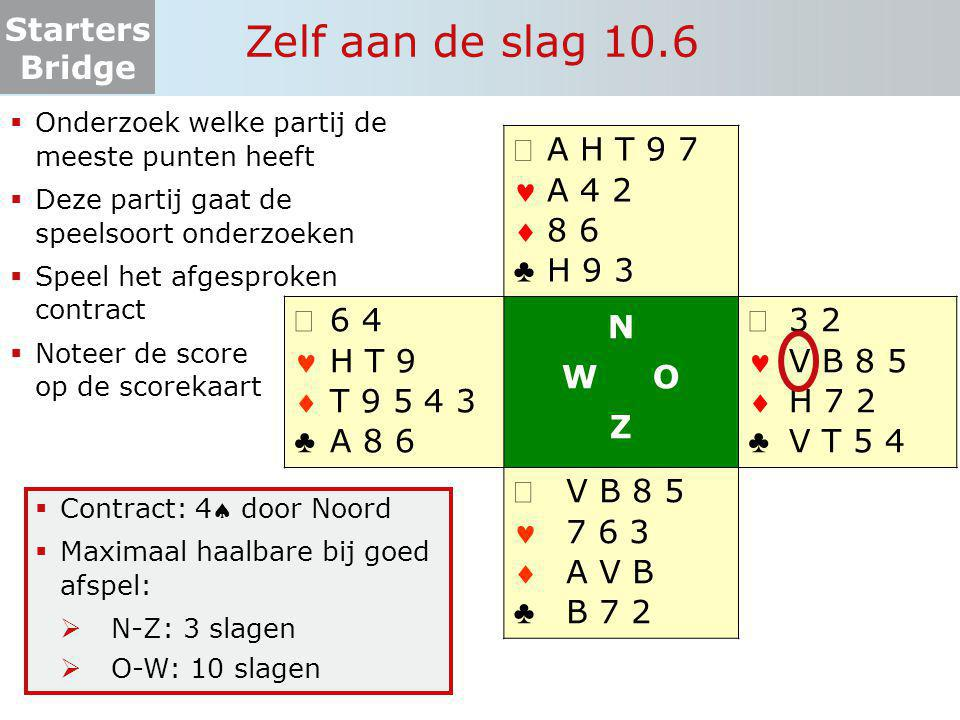 Starters Bridge Zelf aan de slag 10.6  Onderzoek welke partij de meeste punten heeft  Deze partij gaat de speelsoort onderzoeken  Speel het afgespr