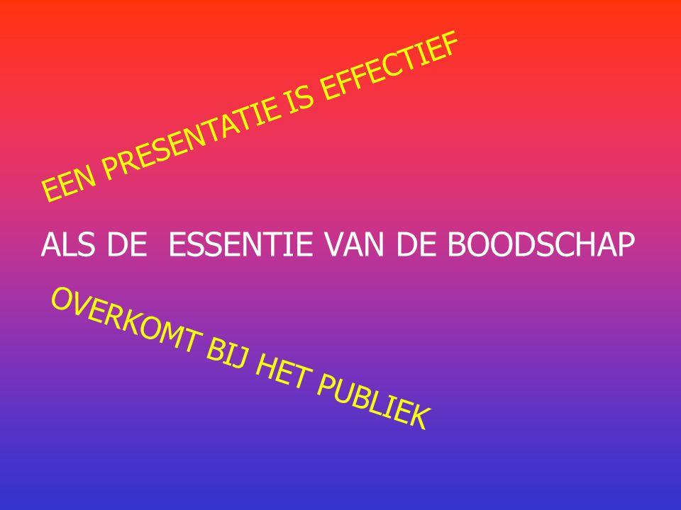 EEN PRESENTATIE IS EFFECTIEF ALS DE ESSENTIE VAN DE BOODSCHAP OVERKOMT BIJ HET PUBLIEK