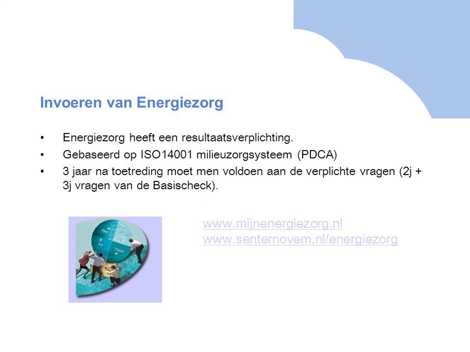 Invoeren van Energiezorg Energiezorg heeft een resultaatsverplichting. Gebaseerd op ISO14001 milieuzorgsysteem (PDCA) 3 jaar na toetreding moet men vo